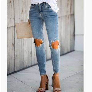 NEW Free People High Rise Busted Knee Skinny Jeans